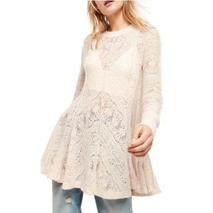 NWT Free People cream lace-like flowy tunic top, S